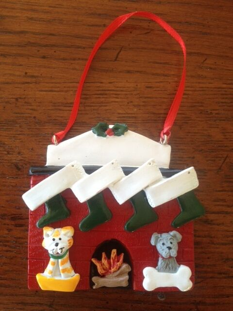Personalized fireplace family of 4 w 2 dog or cat for Family of 4 christmas ornament