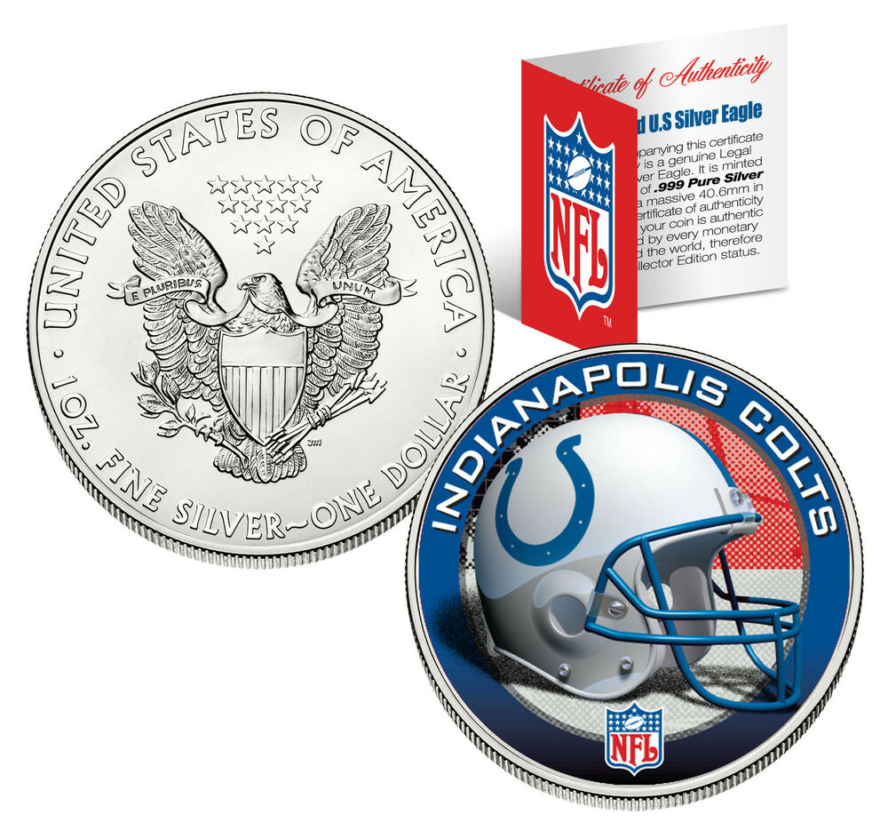 Indianapolis Colts 1 Oz 999 Fine Silver American Eagle 1