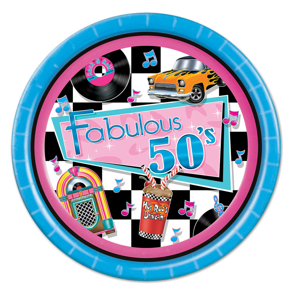 """Fab 50 People: 8 Ct Fabulous 50's Diner Jukebox 9"""" Paper Plates Birthday"""
