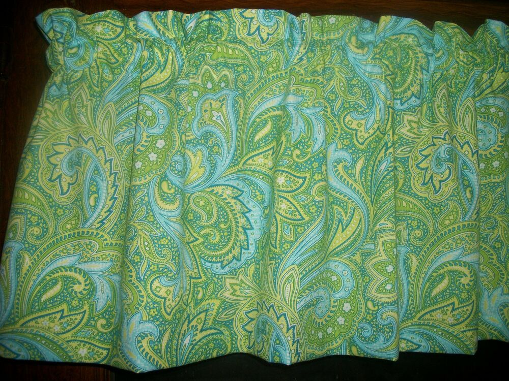 Blue Lime Green Yellow Paisley Cotton Fabric Window Curtain Valance Ebay