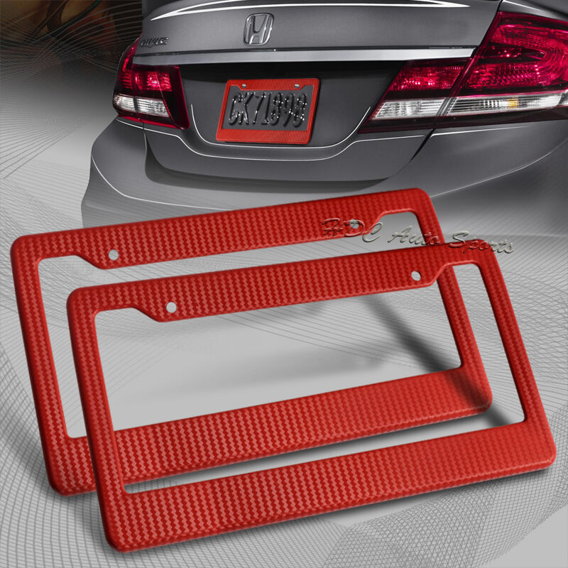 2 X Jdm Red Carbon Fiber Look License Plate Frame Cover