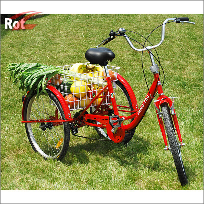 f r erwachsene dreirad lastenfahrrad 6g seniorenrad shopping fahrrad 24 zoll rot ebay. Black Bedroom Furniture Sets. Home Design Ideas