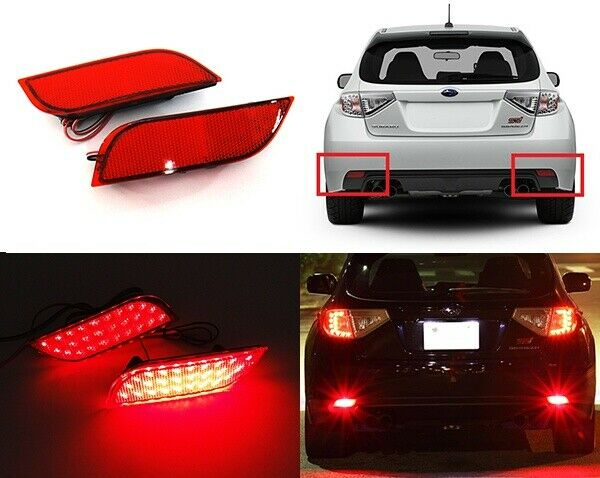 2 red rear bumper reflector led tail stop brake light 08. Black Bedroom Furniture Sets. Home Design Ideas