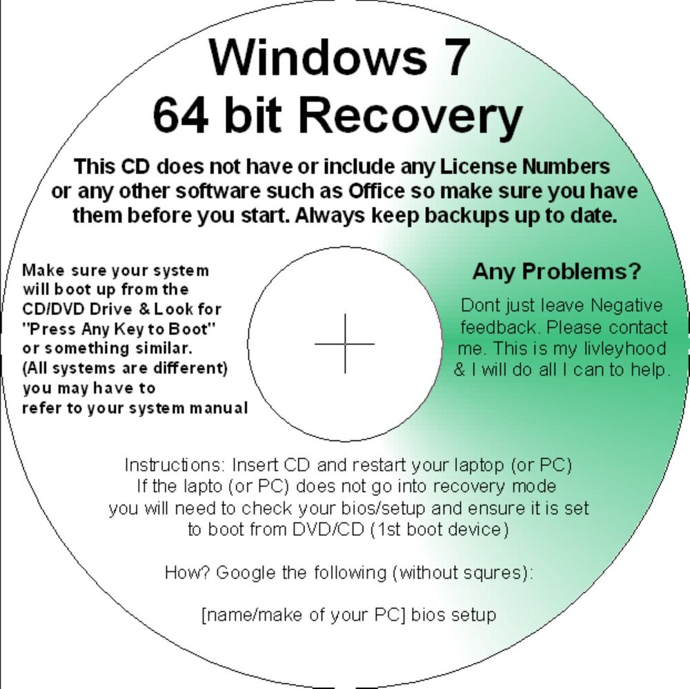 Download recovery disk for Windows 7