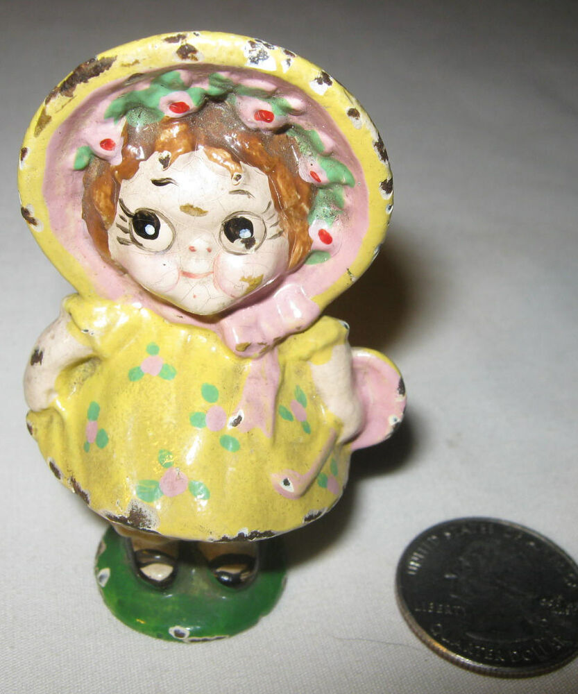 ANTIQUE HUBLEY TOY CO. DOLL DIMPLE FLOWER GIRL CAST IRON