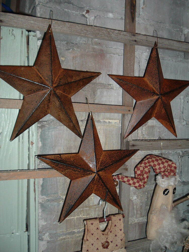 Three 8 rusty rustic metal barn stars primitive americana for Americana crafts to make