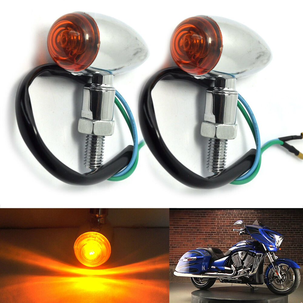 2x heavy duty steel motorcycle mini bullet amber led turn. Black Bedroom Furniture Sets. Home Design Ideas