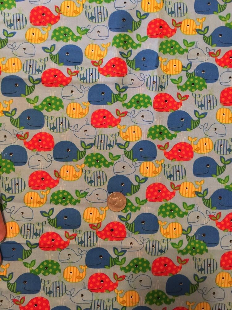 Cute WHALES on Lt Blue Whale Ocean Novelty Quilt Fabric Fat Quarters FQ FQs eBay