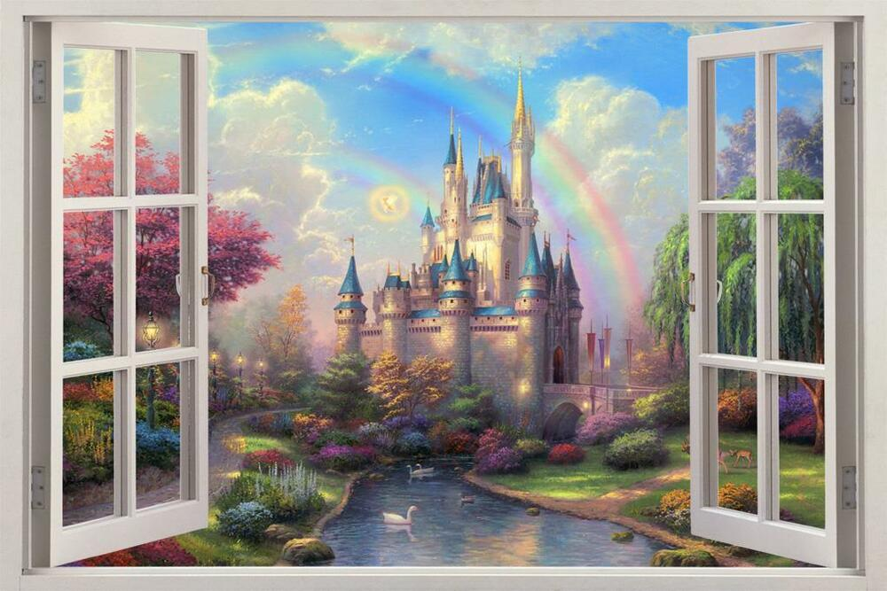Fantasy princess castle 3d window view decal wall sticker for Castle wall mural sticker
