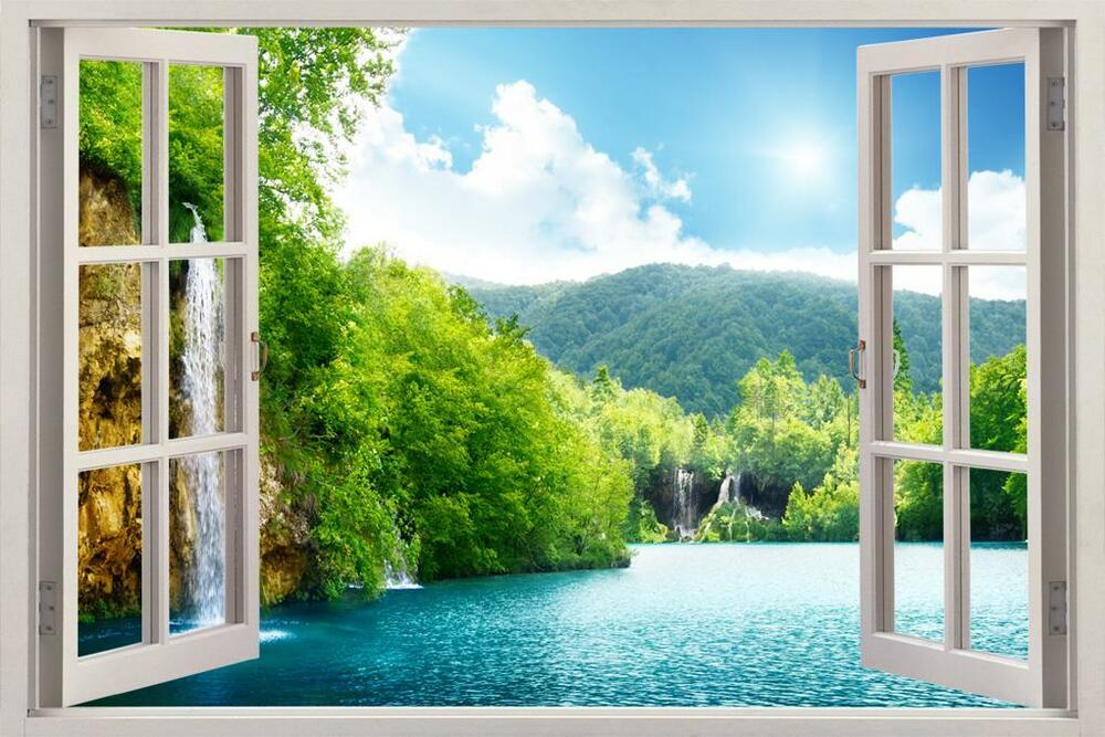 Forest Lake Scene 3D Window View Decal WALL STICKER Decor