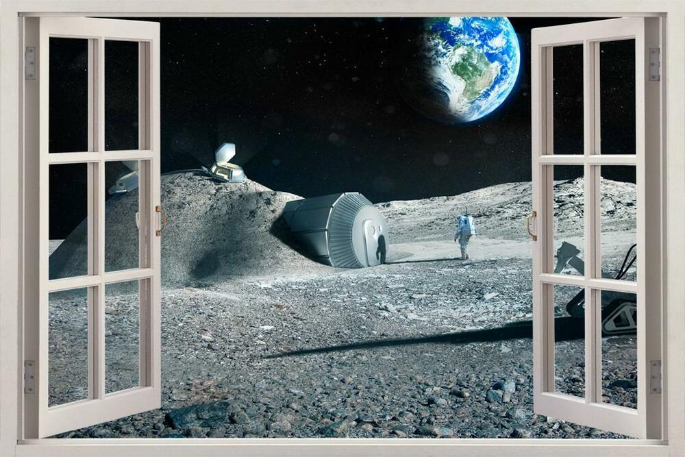 Astronauts Earth From Moon 3D Window View Decal WALL