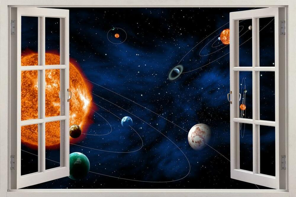 Space planets solar system 3d window view decal wall for Decoration 3d sol