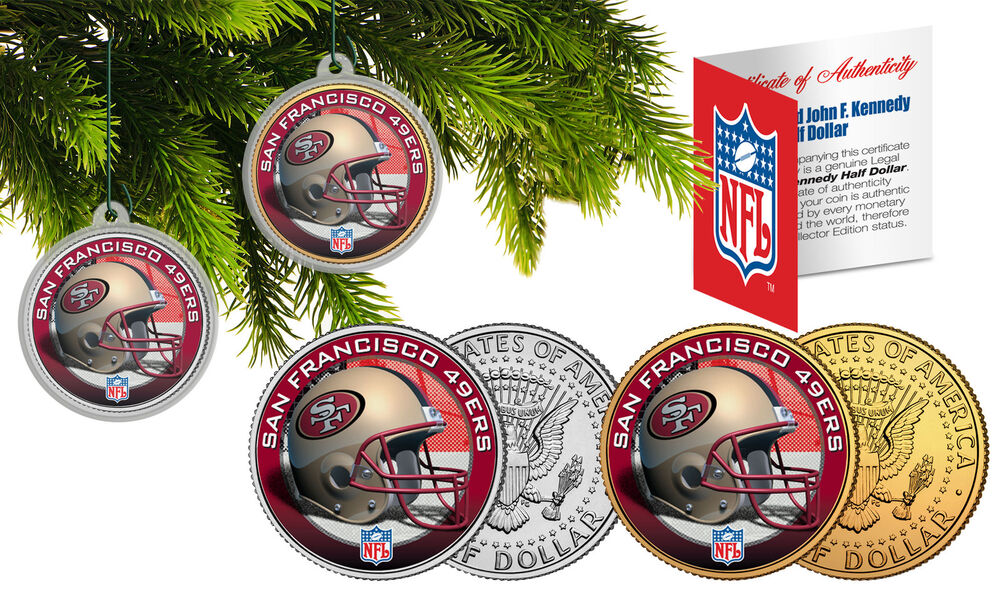 San Francisco 49ers Christmas Tree Ornaments Jfk Half