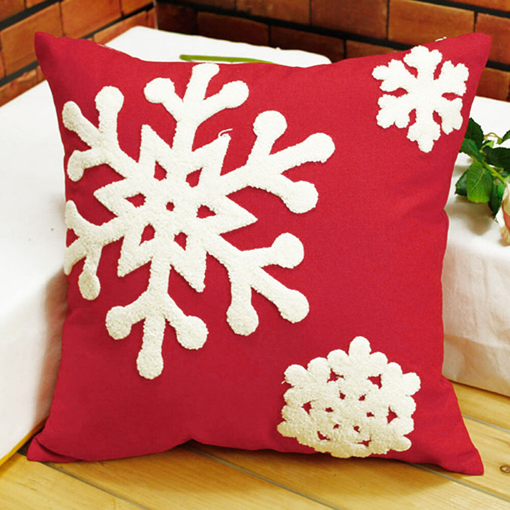 New Christmas Snowman Snowflake Linen Cotton Throw Pillow ...