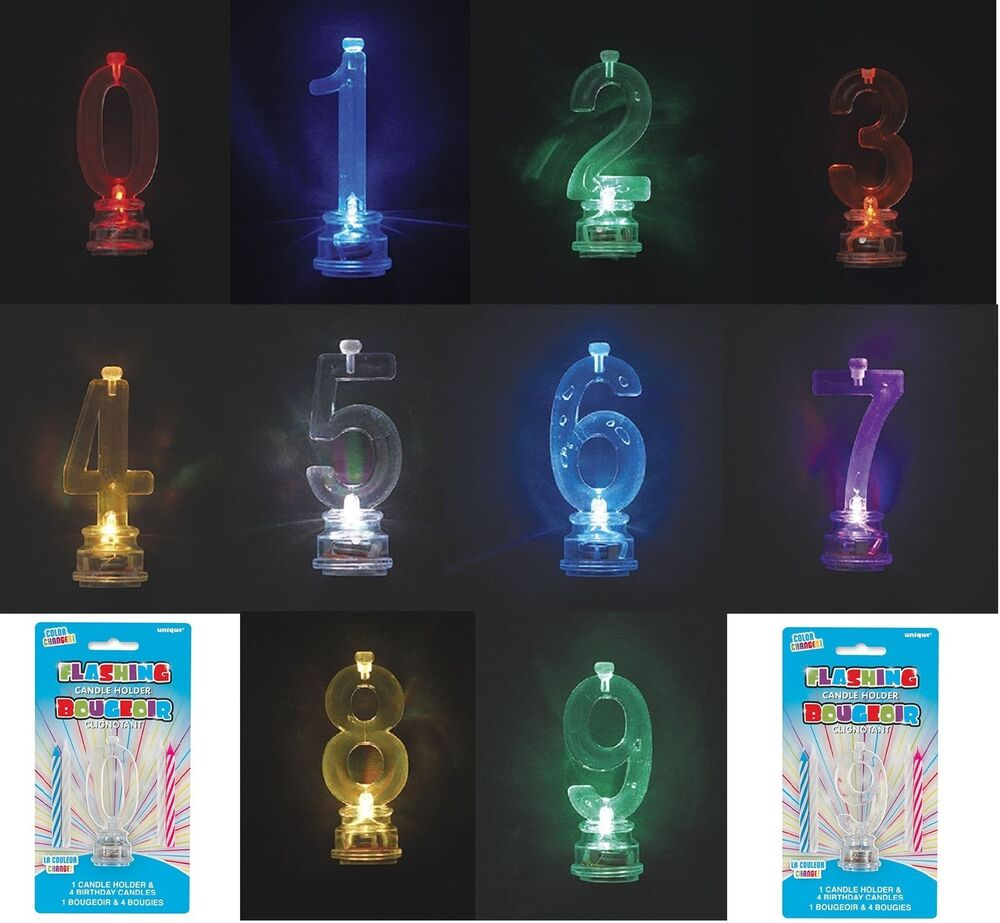 Flashing number candle holder 4 birthday cake candles for Decoration candles