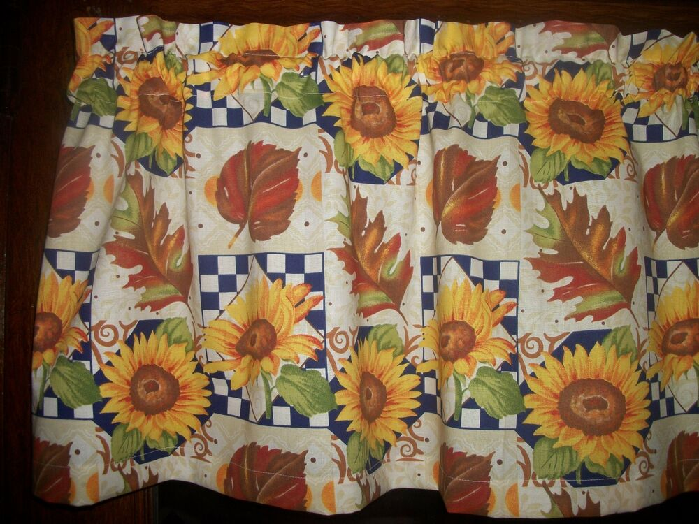 Fall Leaves Blue Checks Autumn Sunflower Fabric Curtain