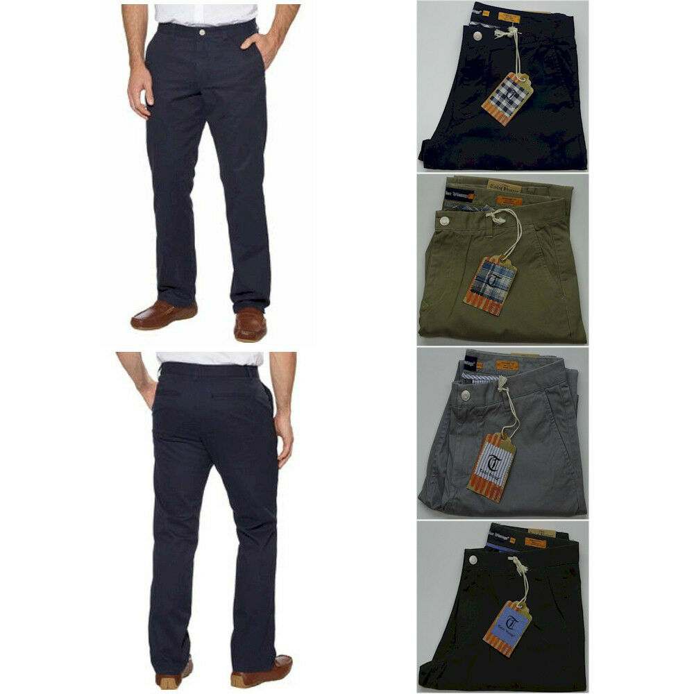 Mens Tailor Vintage Flat Front Chino Pants Straight Fit