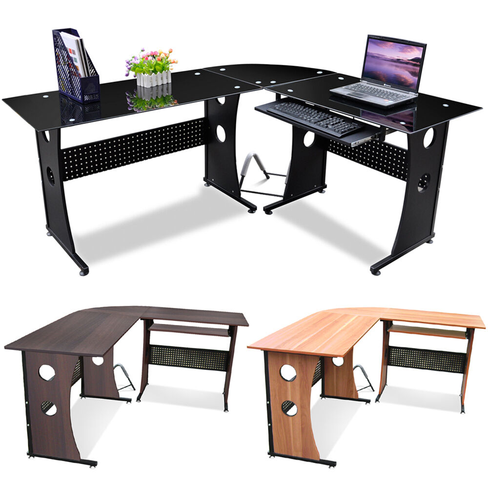 New L Shape Designer Computer Pc Table Home Study Office Furniture Corner Desk Ebay