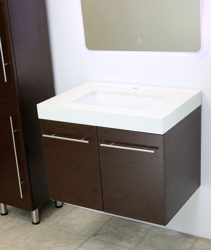 Windbay 36 Wall Mount Floating Bathroom Vanity Sink Set Vanities Sink Brown Ebay