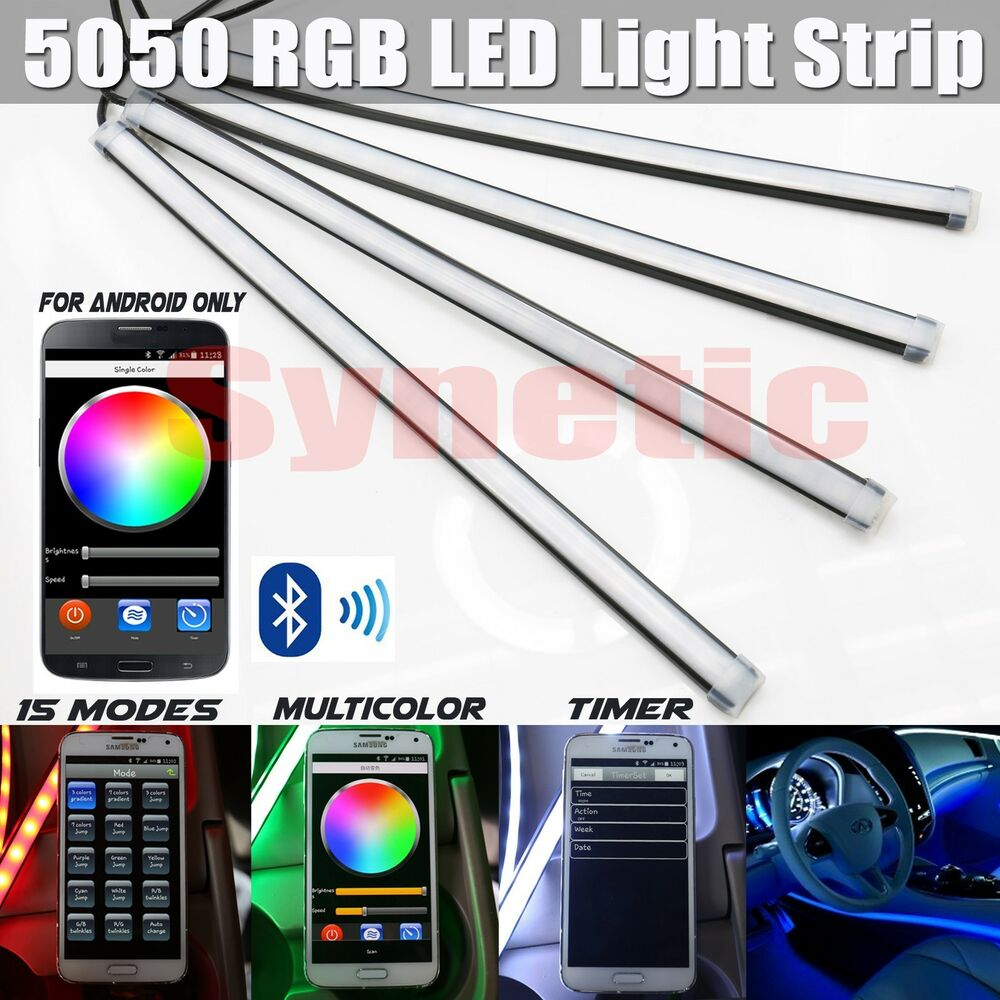4x 12 rgb multi color 5050 led truck car interior lighting bar bluetooth remote ebay. Black Bedroom Furniture Sets. Home Design Ideas