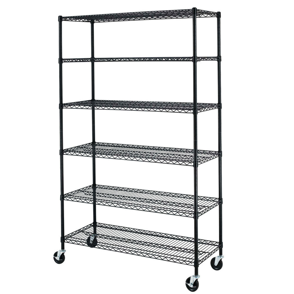 commercial metal shelving 72 quot x48 quot x18 quot 6 tier shelf adjustable steel wire 13753