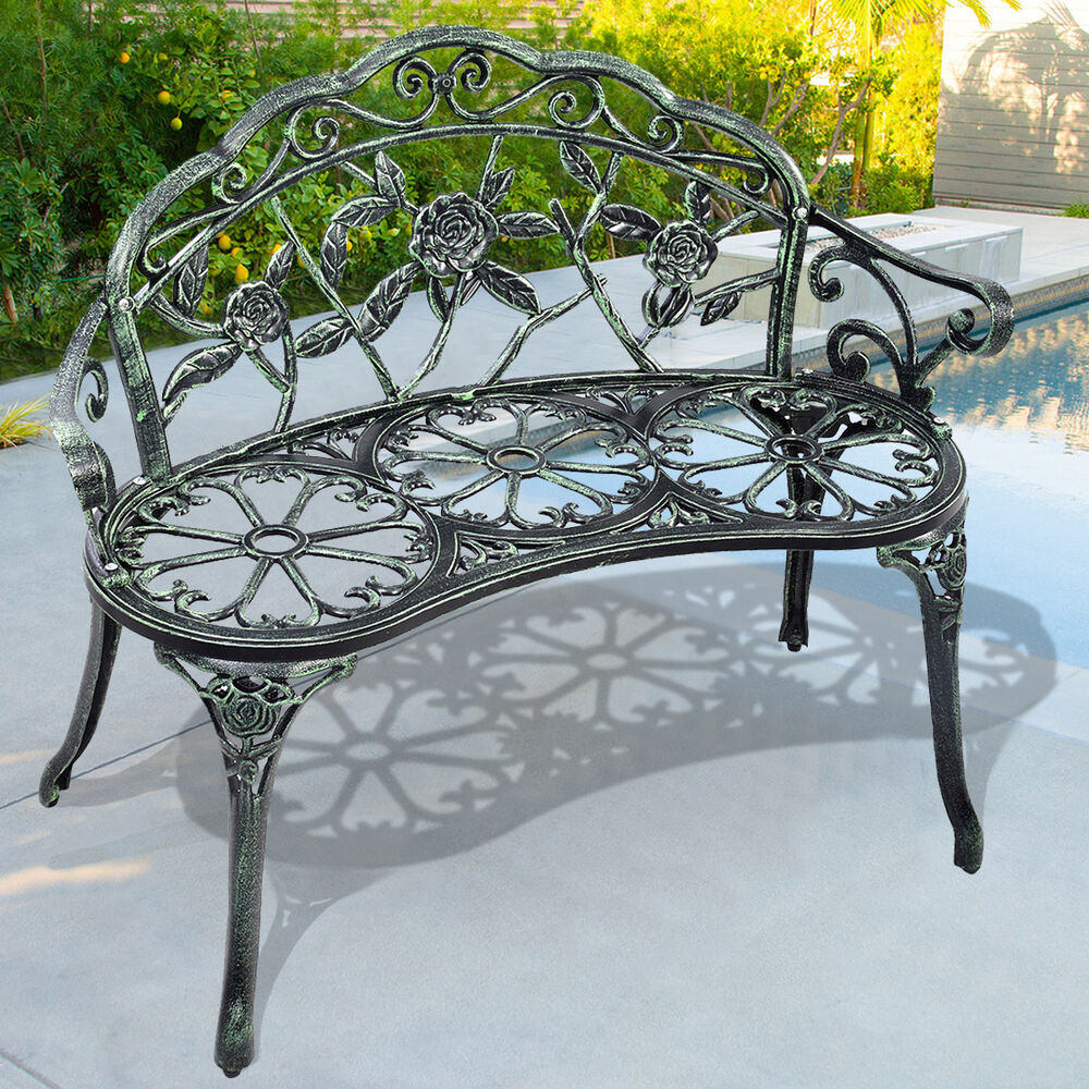 Patio garden bench chair style porch cast aluminum outdoor rose antique green ebay Wrought iron outdoor bench