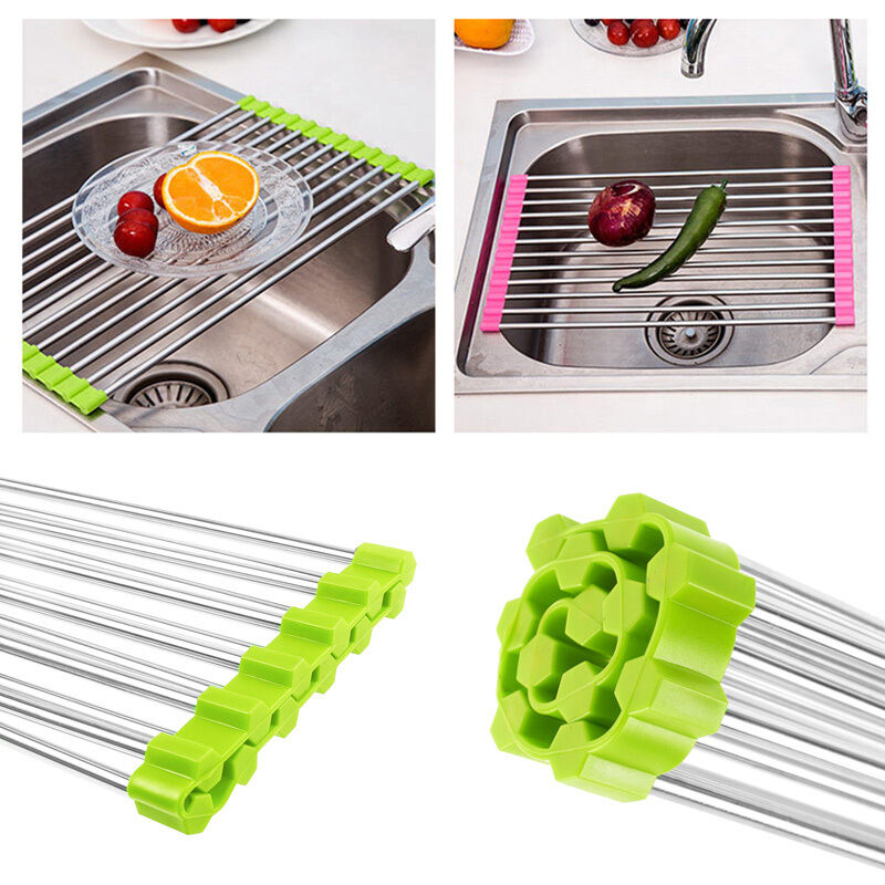 stainless steel roll sink fruit dish drainer tray kitchen. Black Bedroom Furniture Sets. Home Design Ideas