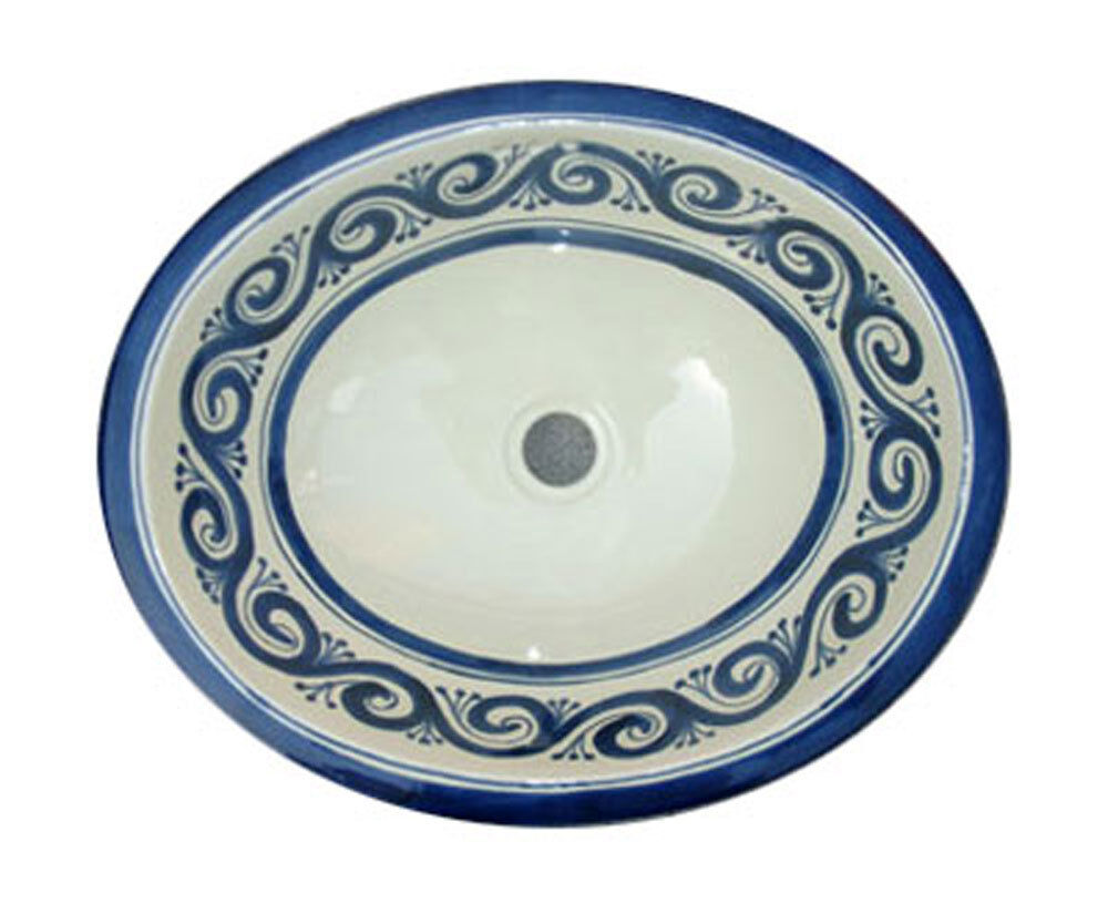 052 Small 16x11 5 Mexican Bathroom Sink Ceramic Drop In Undermount Basin Ebay