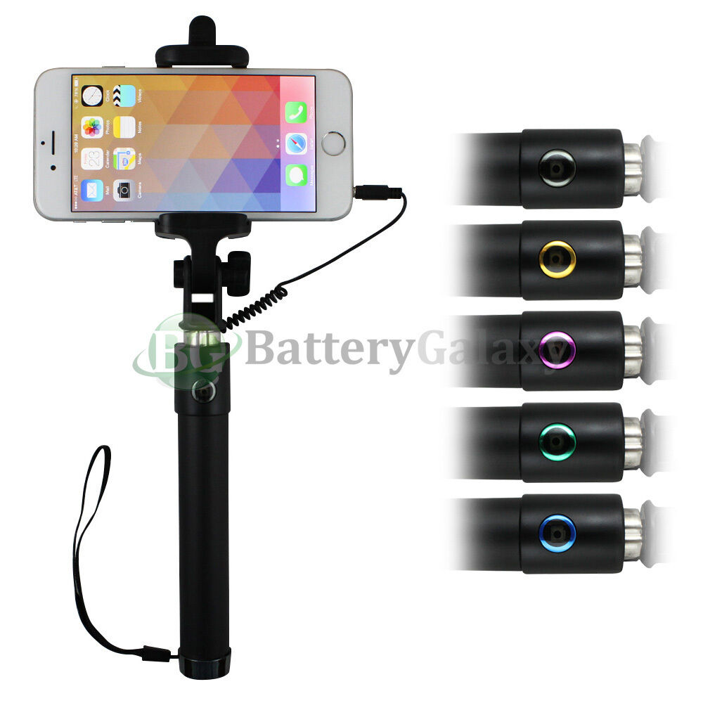 extendable wired remote shutter premium selfie stick monopod for iphone samsung ebay. Black Bedroom Furniture Sets. Home Design Ideas