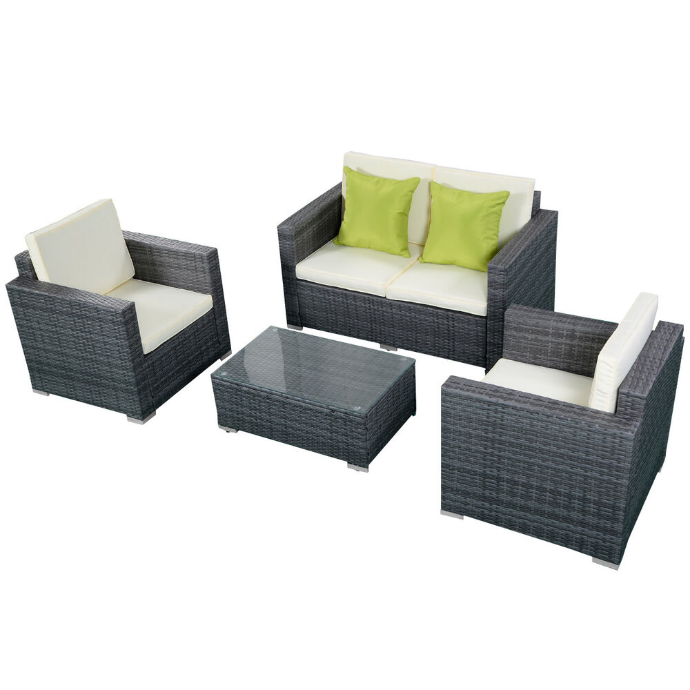 4pc Gray Wicker Rattan Sofa Furniture Set Patio Garden Lawn Cushioned Seat New Ebay