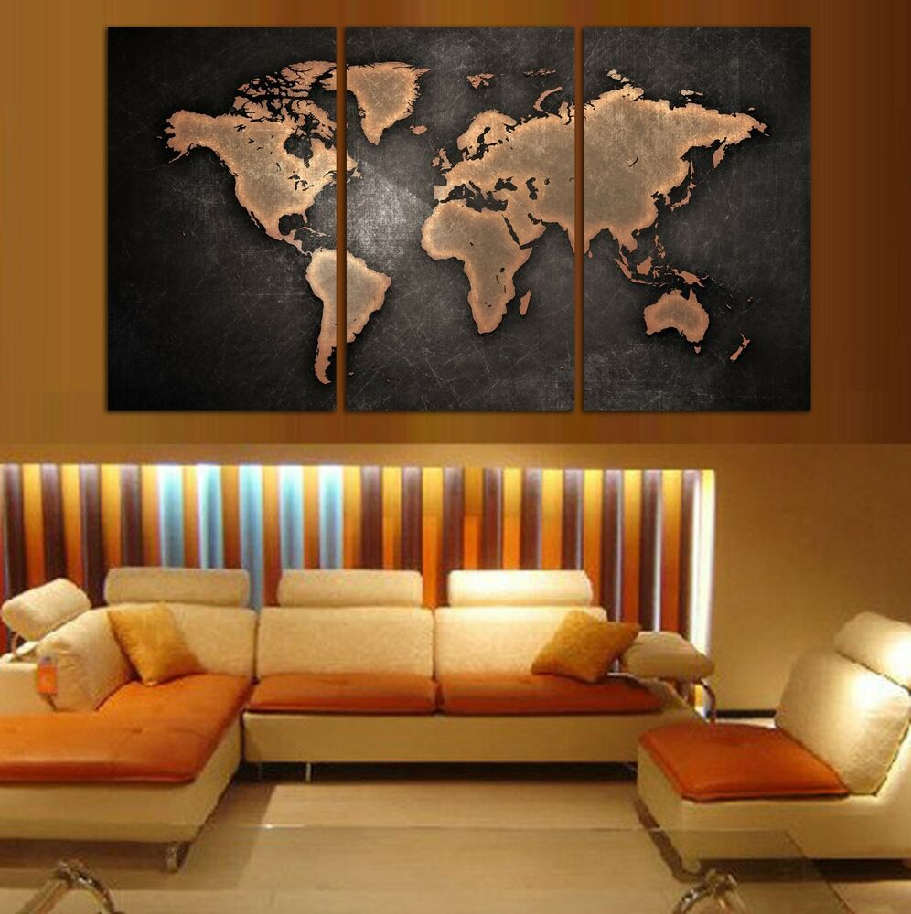 3 panel split art world map canvas print triptych for home office wall decor ebay. Black Bedroom Furniture Sets. Home Design Ideas