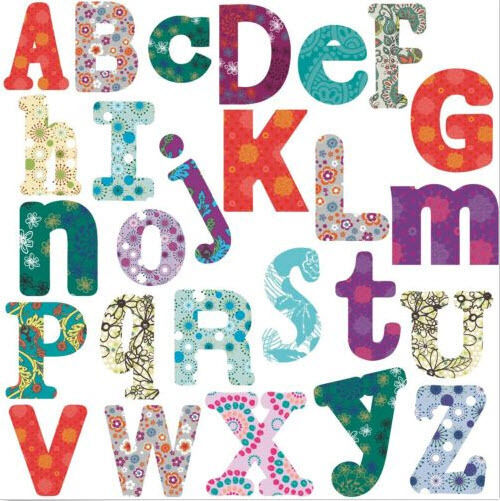 Boho alphabet letters wall stickers 110 decals school for Alphabet mural nursery