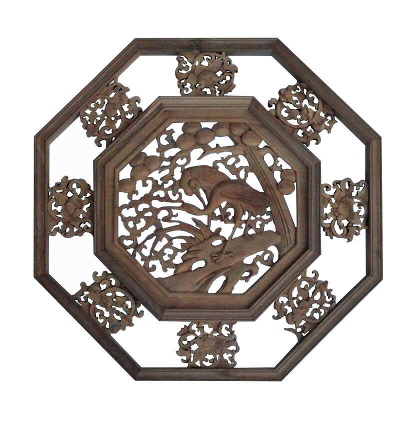 Chinese Wood Carved Octagonal Scenery Wall Decor Panel