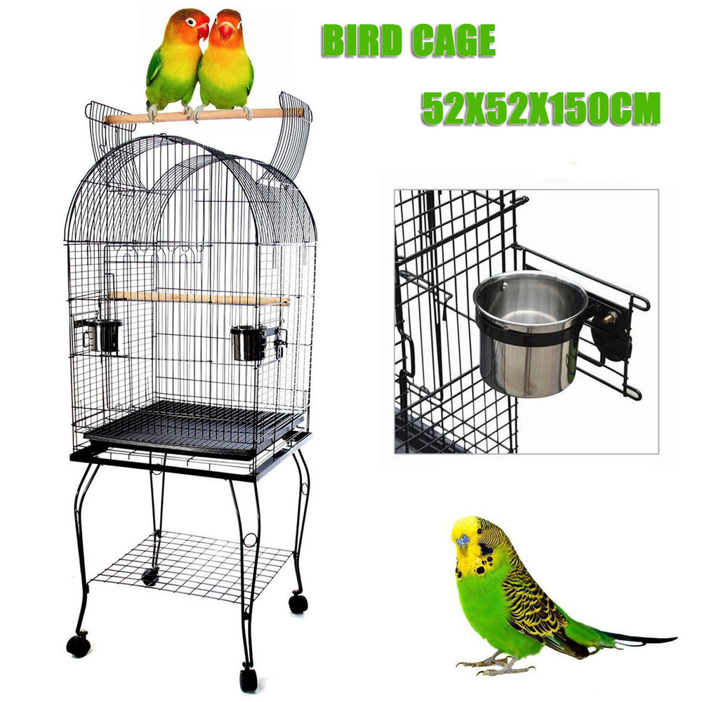 parrot aviary bird cage pet budgie canary parakeet stand wheel 52x52x150cm ebay. Black Bedroom Furniture Sets. Home Design Ideas