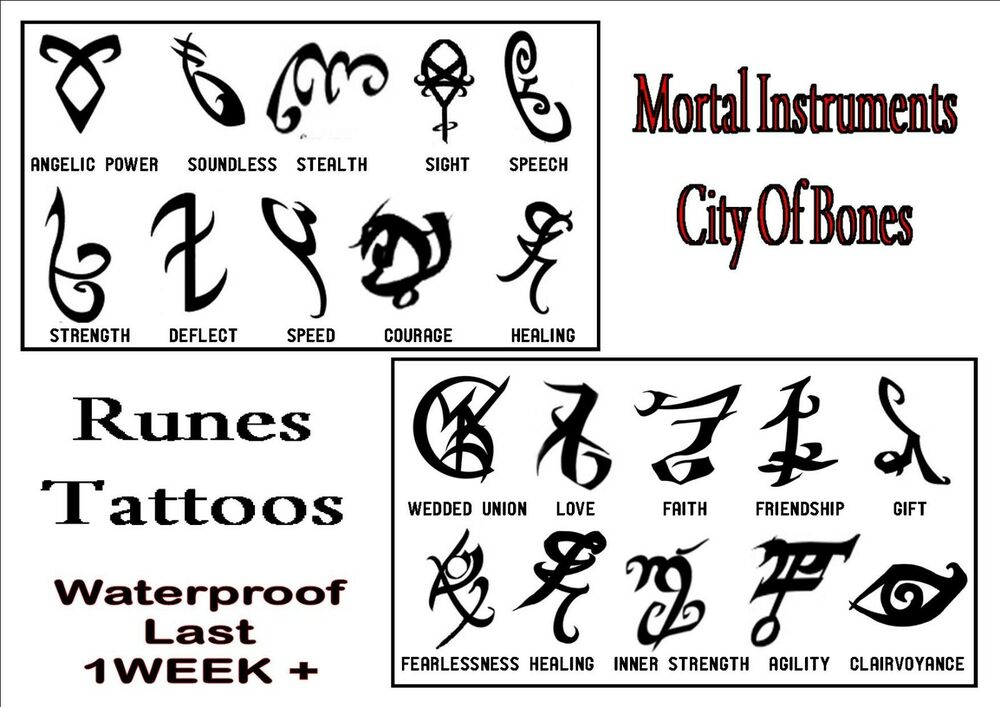 Runes Mortal Instruments Temporary Tattoos X 10 Waterproof Tribal