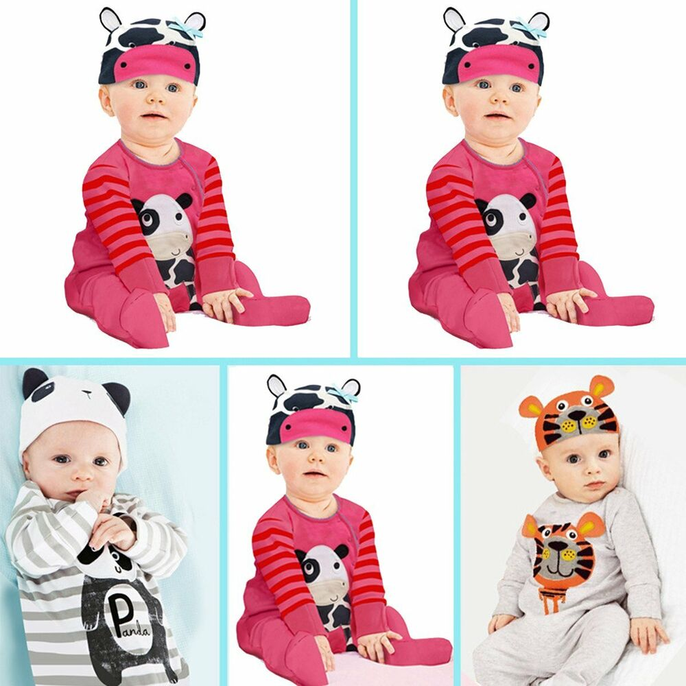 09eb47a8a Newborn Infant Baby Girls Boys Playsuit Romper+Hat Cap Costume ...