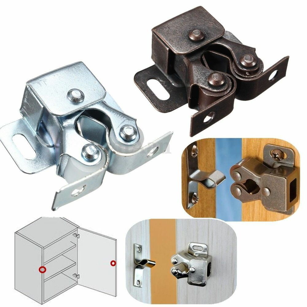 Pcs double roller catches cupboard cabinet door latch