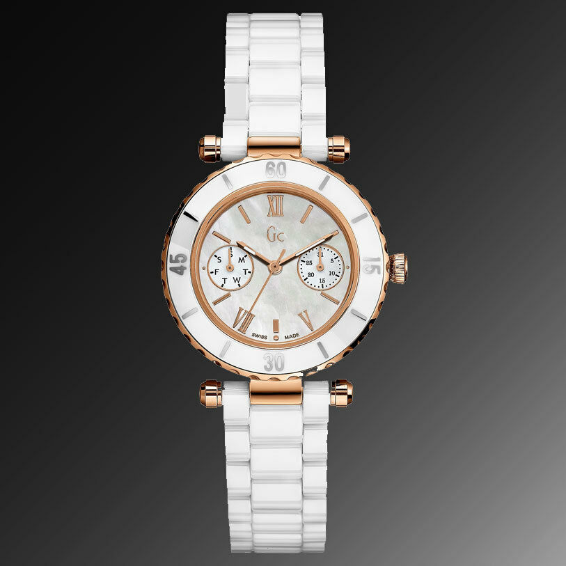 NEW GUESS COLLECTION GC ROSE GOLD LADY WATCH WHITE CERAMIC ...