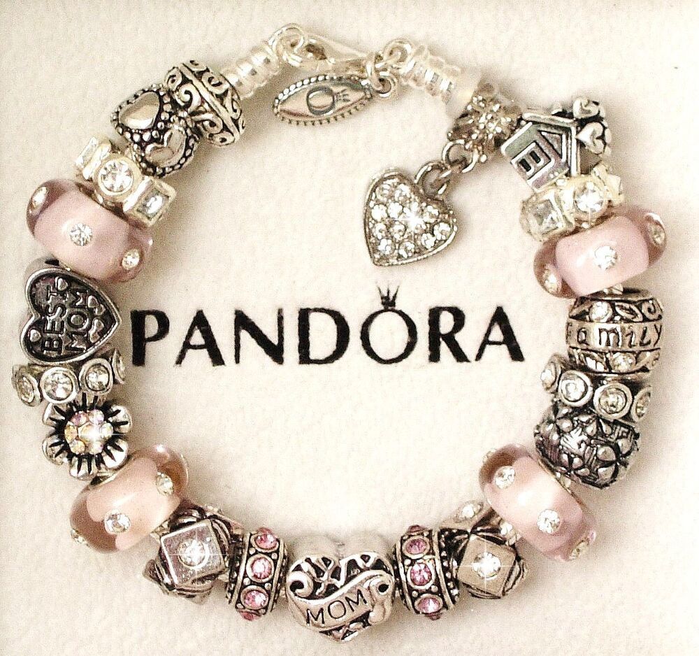 Charms For Bracelets Pandora: Authentic Pandora Sterling Silver Bracelet With Mom Mother