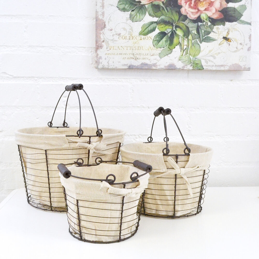 Shabby Cottage Chic Set Of Round Lined Baskets Metal Linen