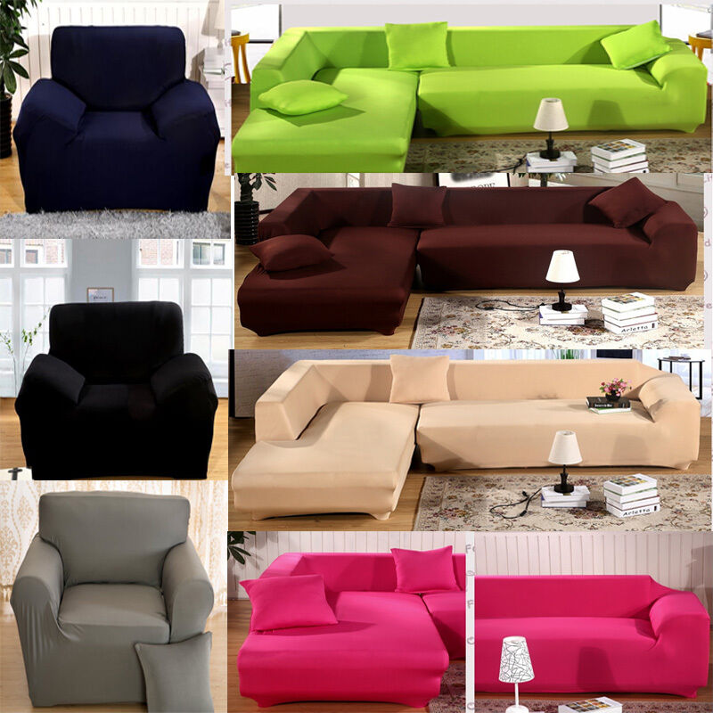 l shape stretch elastic fabric sofa cover pet dog sectional corner couch covers ebay. Black Bedroom Furniture Sets. Home Design Ideas