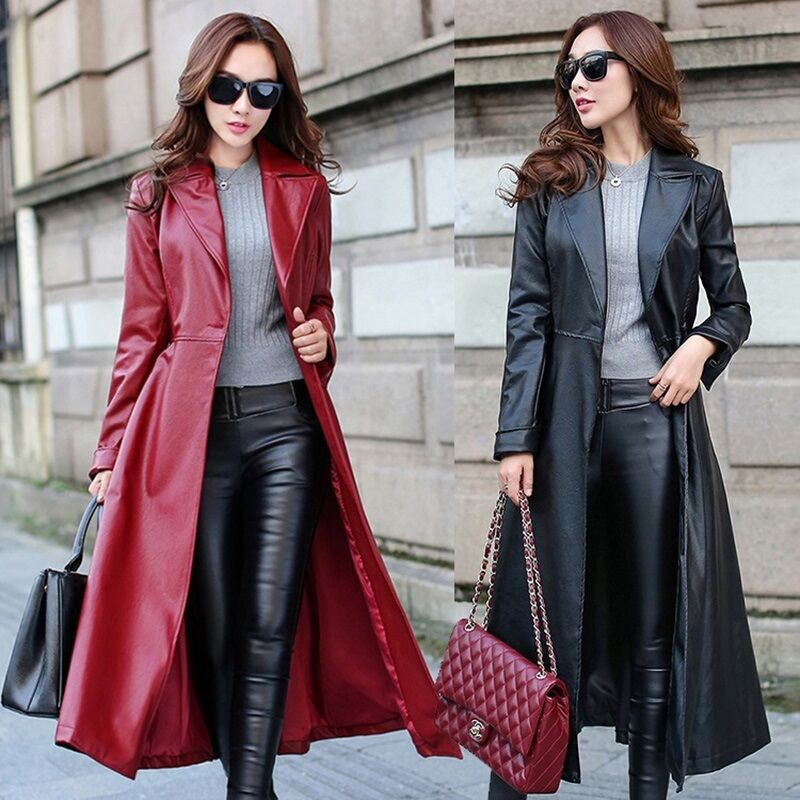 Womens long leather jackets