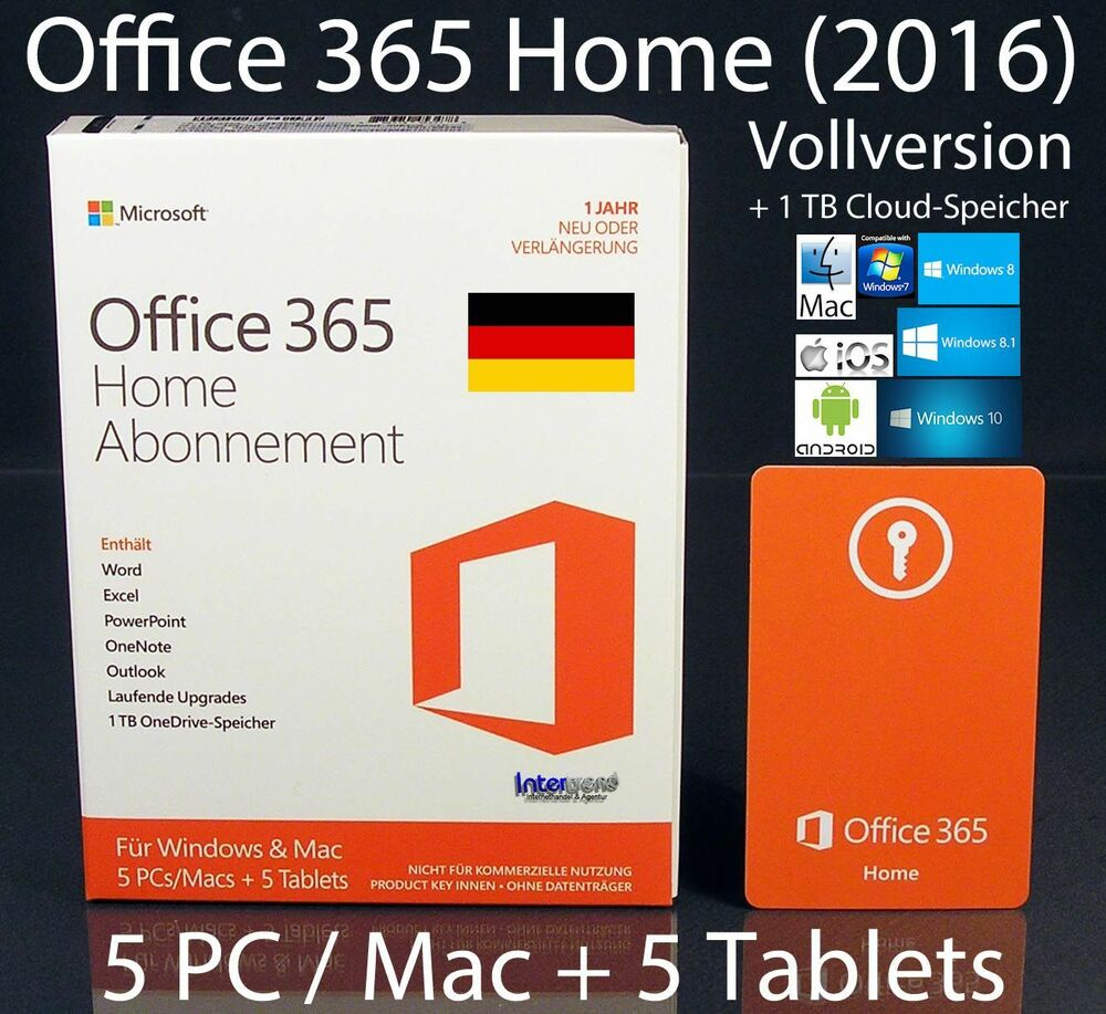 microsoft office 365 home 2016 vollversion box 5 pc mac 5 tablets 32 64 abo 885370453478 ebay. Black Bedroom Furniture Sets. Home Design Ideas