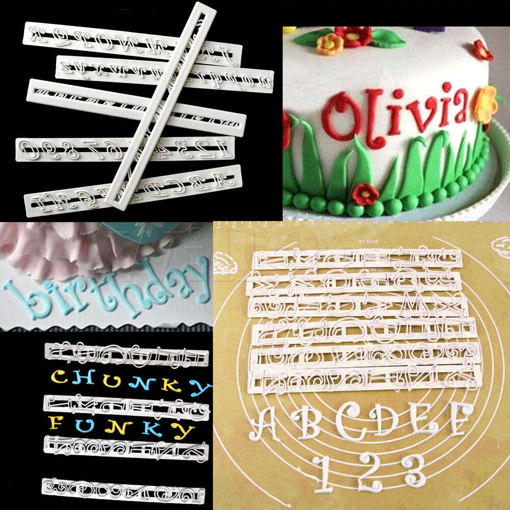 Cake Decorations Letters Uk : 6PCS Number & Alphabet Letter Cake Decorating Set Fondant ...