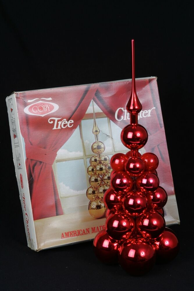 Coby Glass Christmas Tree Ornaments : Vintage coby glass christmas tree cluster red ornaments in