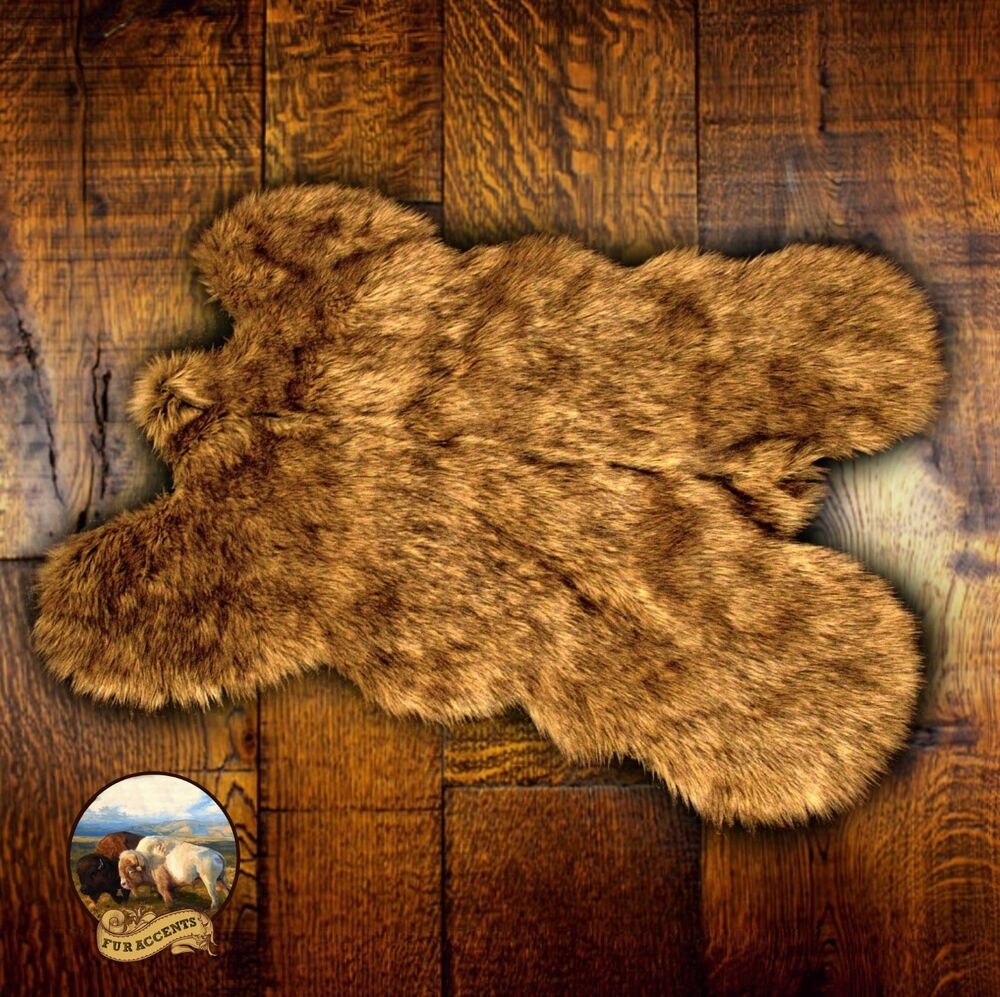 Brown Wolf Bear Skin Faux Fur Pelt Hide Throw Rug Shag