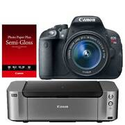 Canon T5i DSLR Camera + 18-55mm Lens + Pro-100 Printer $369 + free shipping after $350 Rebate