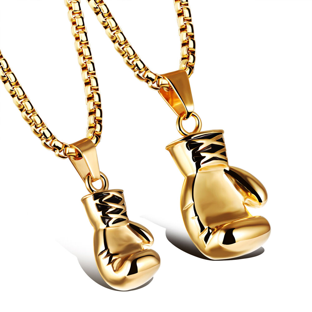 Couple Jewelry Stainless Steel Gold Solid Boxing glove ...