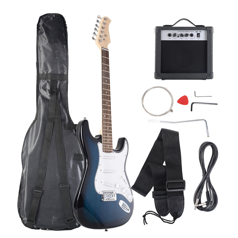 goplus full size blue white electric guitar 10w amp strap cord gigbag new ebay. Black Bedroom Furniture Sets. Home Design Ideas