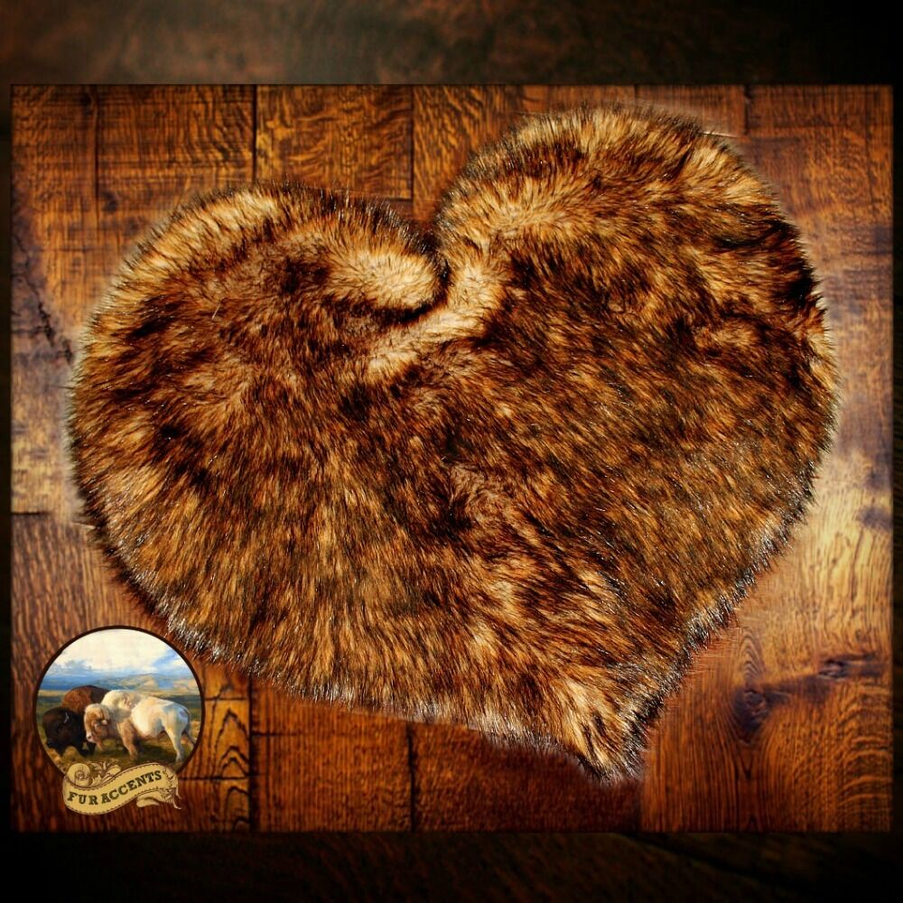 Plush luxury faux fur heart rug golden brown bear skin for Fur rugs